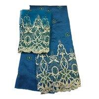 Африканский вышивка жоржет тканей, шелка сырца с бисером и камень для одежды