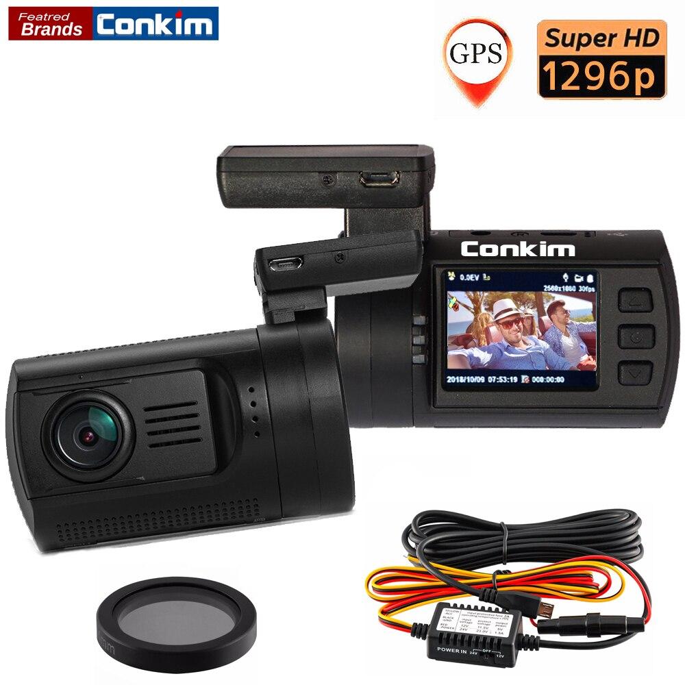 Conkim Mini 0806 s Voiture DVR Caméra Ambarella A7 1296 p 1080 p HD DVR Voiture Boîte Noire GPS Logger détecteur de mouvement Auto Vidéo Registraire