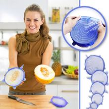 6PCS/SET Soft Silicone Fresh Cover Microwave Oven Heating Cover Refrigerator Plastic Wrap Lid Seal Cover Hot Dishes Bowl(China)
