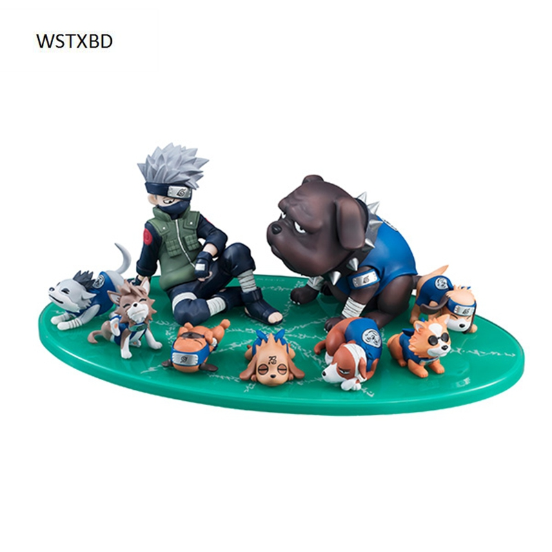 WSTXBD Original MH G.E.M Series Gaiden Naruto Shippuden Kakashi Ninken Set PVC Figure Brinquedos Toys Figurals 21cm naruto hatake kakashi pvc action figure the dark kakashi toy naruto figure toys furnishing articles gifts x231