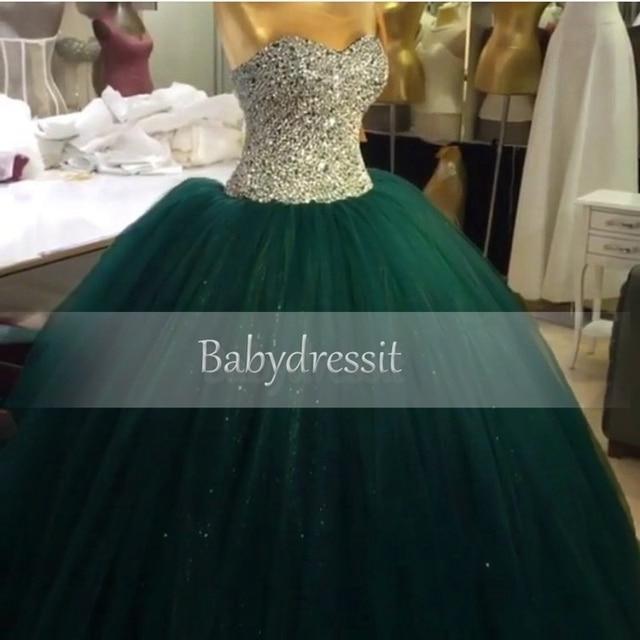 0e74acde8 Puffy Dulce 16 Vestidos de Verde Esmeralda para Niñas Sweetheart Sparkly  Fuera del Hombro Piso-