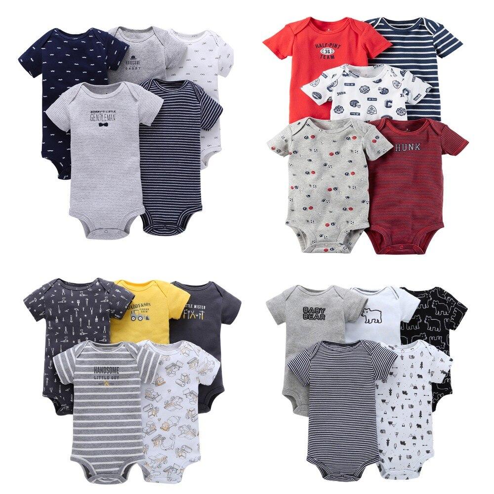 5PCS/LOT Unisex Brand baby Bodysuits Cotton Print Bebes Jumpsuit 3-24 M Newborn Fashion Clothes O-Neck Toddler Boys Clothing