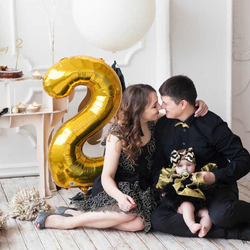 1 PCS 40 polegada balões número da folha de prata de ouro 0 1 2 3 dígitos aniversário balão de hélio meu 30th 1st fontes da festa de Aniversário decoração