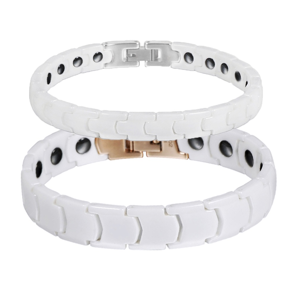 Wollet Jewelry Couple White Ceramic Bracelet Korea Design Healing Energy Germanium Hemat ...