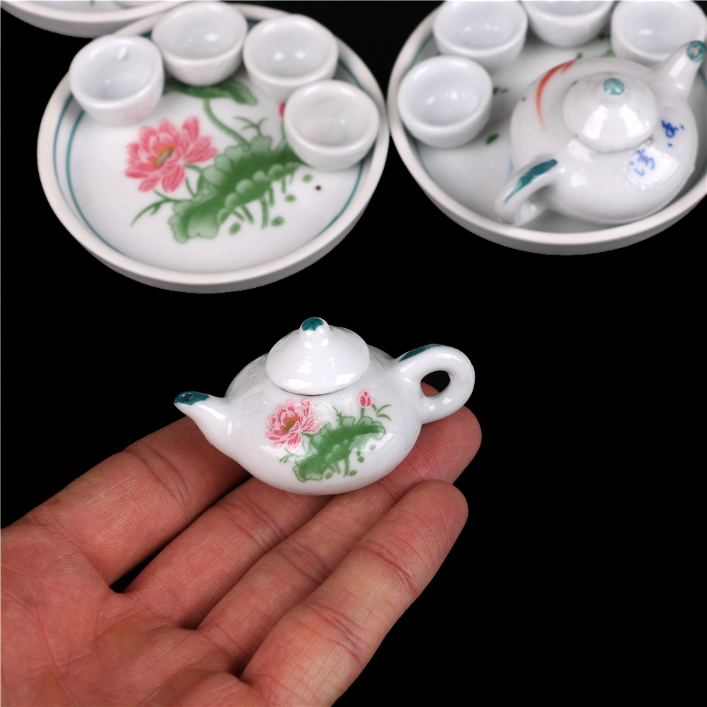 Children's Classic Toys 6pcs Dollhouse Miniature Dining Ware Porcelain Tea Set Dish Cup Plate -Pink Rose