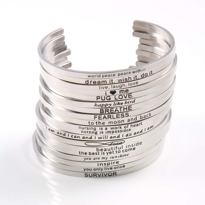 Silver Custom Stainless Steel Engraved Message Bracelet Personalized Positive Inspirational Letter Bangle For Women Whole Bracelets Bangles