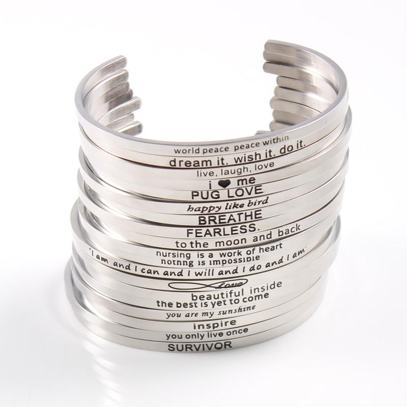 Silver Custom Stainless Steel Engraved Message Bracelet Personalized Positive Inspirational Letter Bangle For Women Whole Bracelets Bangles