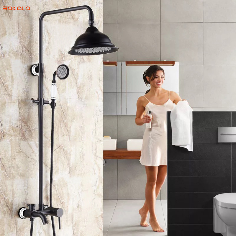 BAKALA Bathroom Black Shower Set Wall Mounted 8 Rainfall Shower Mixer Tap Faucet 3-functions Mixer Valve GZ-6007R/8R wholesale and retail wall mounted thermostatic valve mixer tap shower faucet 8 sprayer hand shower