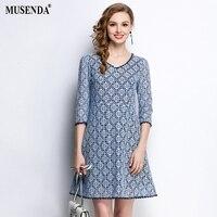 MUSENDA Plus Size Women Blue Lace V-Neck 3/4 Sleeve Tunic Dress 2018 Spring Female Office Lady Sweet Party Dresses Clothing Robe