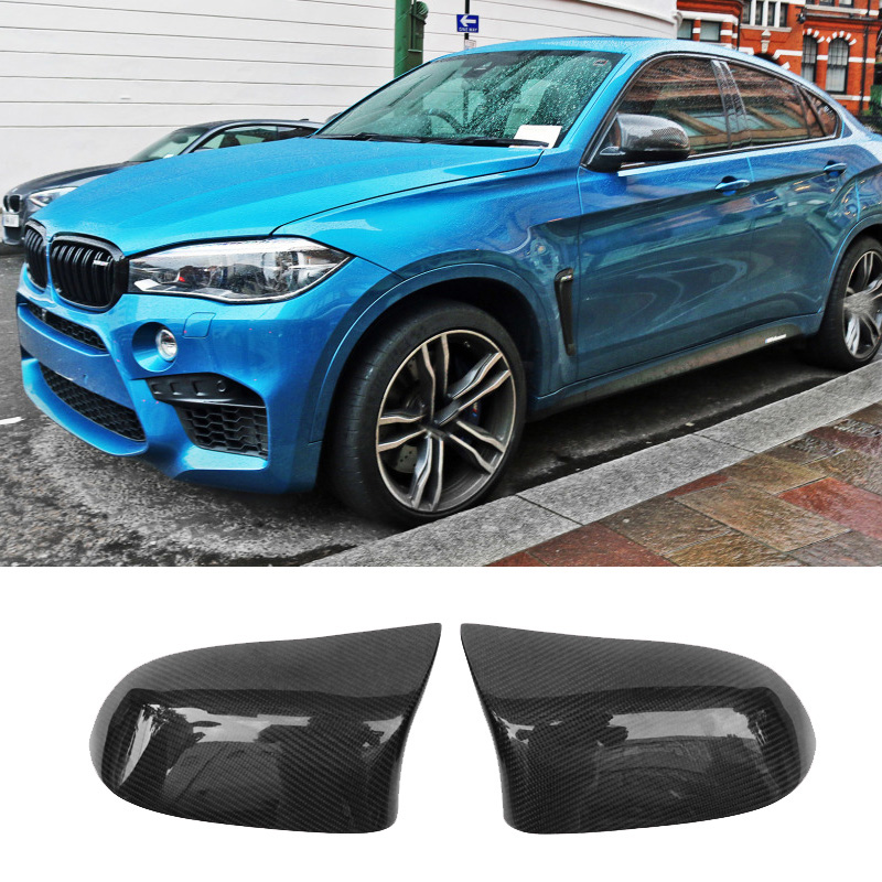 Horns tip Style Carbon fiber Rearview mirror cover Fit For BMW F15 F16 F26 X4 X5