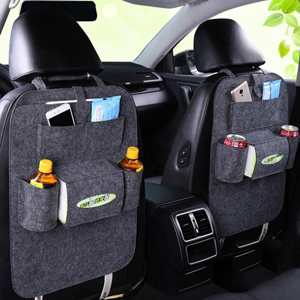 Coche Auto asiento trasero organizador Car-Styling titular Felt Covers versátil Multi-Bolsillo asiento lana sentía almacenamiento de contenedores colgantes caja