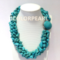 Great Style! Six-Strand Twisted IrregularTurquoise Jewelry Necklace For Parties.Women's Lovest !