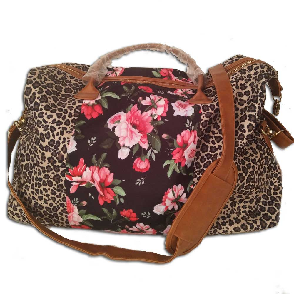 Wholesale Floral Leopard Travel Bag Large Capacity Duffle Handbags Fashion Ladies Oversize Overnight For Traveling Weekender Bag