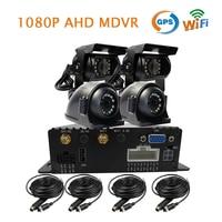 Gratis Verzending 4 Kanaals GPS WIFI 1080 P AHD 256 GB SD Auto DVR MDVR Video Recorder + Front Side Achteruitrijcamera 1080 P AHD HD Auto Camera