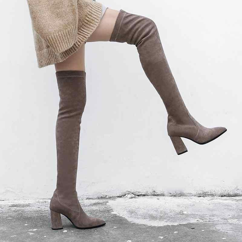 MORAZORA yeni 2019 ince diz çizmeler üzerinde kadın sahte süet uyluk yüksek çizmeler streç kış çizmeler bayan moda uzun patik