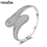 Vecalon New Fashion 5A cubic zirconia T stone Baguette bracelet Big shinning bangle White Gold Filled womens accessaries Jewelry