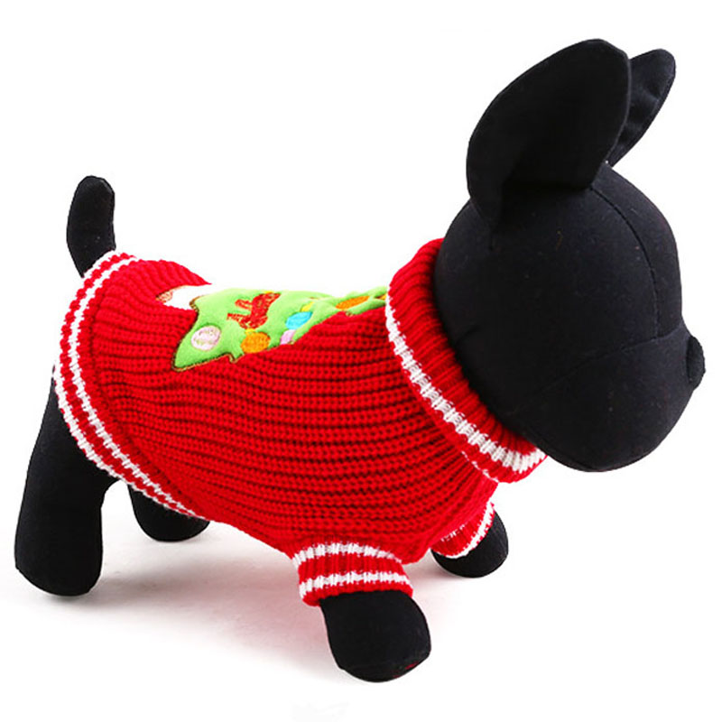 Wool Knit Puppy Dog Pet Jumper Sweater Winter Warm Pullover Coat Holiday Christmas Tree Clothes for Small Medium Dogs Red Green