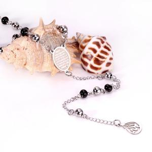 Image 3 - LUXUSTEEL Allah Muslim Arabic Printed Pendant Necklace Stainless Steel Long 66cm+10cm  Mixed Black Beaded Link Chains