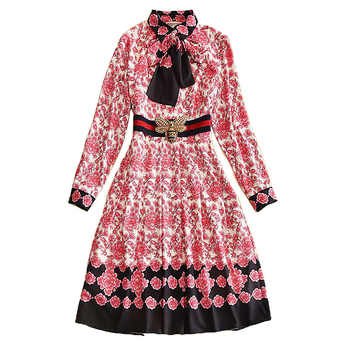High Quality Designer Runway 2020 Spring Women Fashion Party Office Beach Boho Bees Belts Chic Vintage Print Long Sleeve Dress