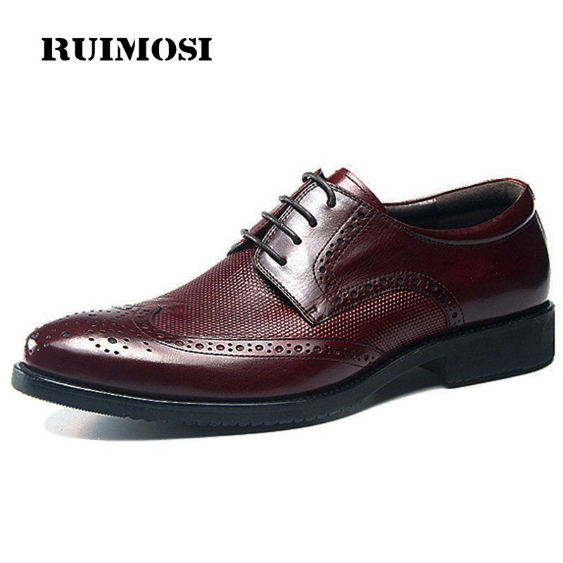 RUIMOSI Fashion Man Wing Tip Brogue Shoes Genuine Leather Male Formal Dress Oxfords Round Toe Derby Bridal Men's Footwear GD48