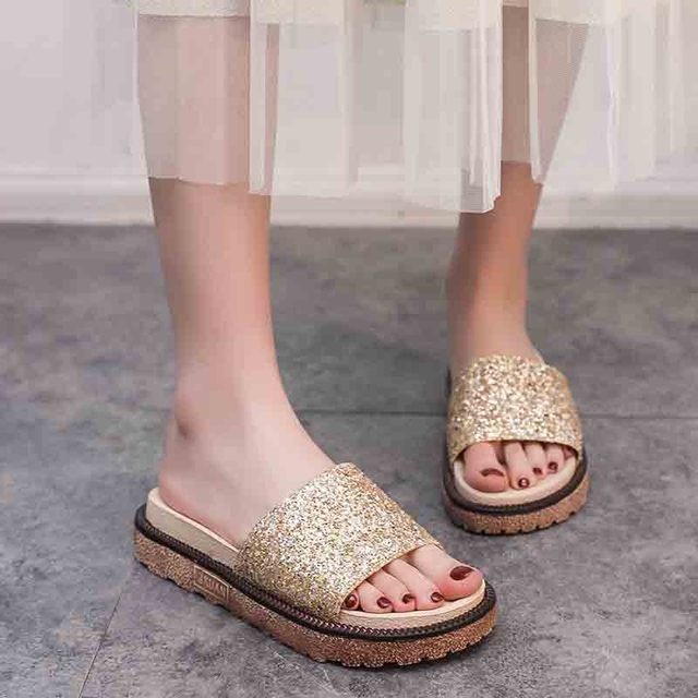 Moda mujer Zapatillas chanclas verano Mujer cristal diamante Bling playa plataforma Sandalias Zapatos casuales deslizamiento en zapatilla