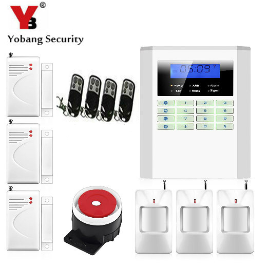 YobangSecurity 99 wireless zones 2 wired zones home alarm system pstn gsm voice prompt LCD keyboard smart alarm system 10B yobangsecurity home gsm pstn alarm system 433mhz voice prompt lcd keyboard wireless alarma gsm with outdoor siren flash
