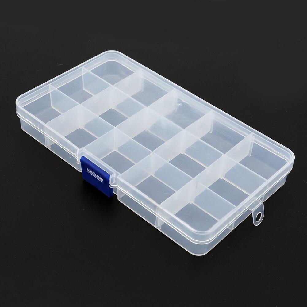 New Multicfuntional Plastic Detachable Transparent 15 Slots Plastic Storage Box Case Fishing Lure Bait Hooks Jewelry Container