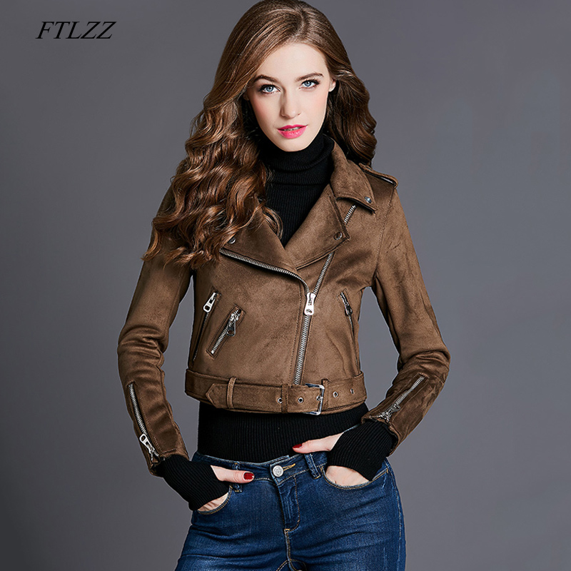 FTLZZ New Faux   Suede   Women Motorcycle Jacket Coats Slim Biker Jacket Faux   Leather   Jacket Red Punk Rivet Zipper Short Outerwear