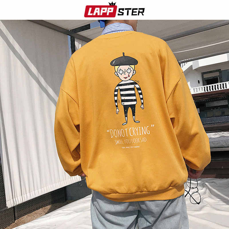 LAPPSTER 남자 Streetwear 만화 후드 2020 봄 망 포켓 힙합 스웨터 남성 하라주쿠 한국어 패션 화이트 후드