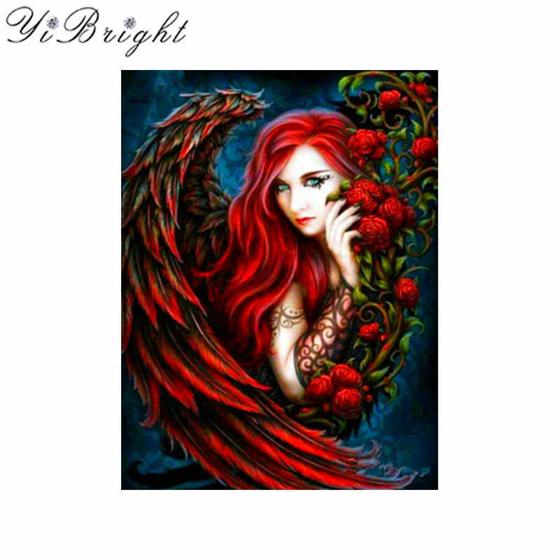 5d diamond embroidery Sexy Angel Girl Rhinestones Diamond Painting Cross Stich Diy mosaic Picture red roses paintings wall decor