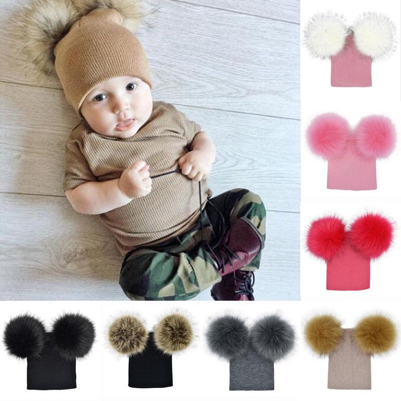 6M-5T New Children Toddler Kids Baby Winter Warm Wool Knit Beanie Cap Fur Pom Pom Bobble Hat