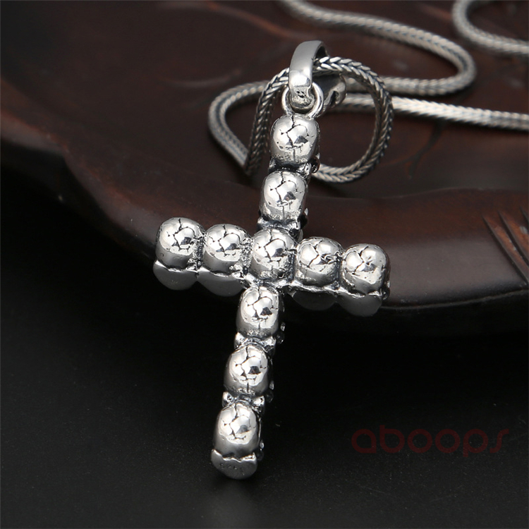 Gothic Black 925 Sterling Silver Skull Cross Pendant for Men Women Free Shipping in Pendants from Jewelry Accessories