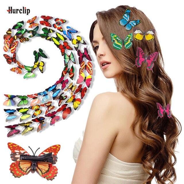 10 個人気のブライダルヘアピン 3D ダブル蝶ヘアクリップブティック女の子女性ヘアアクセサリー帽子結婚式の装飾