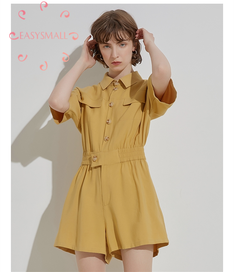 EASYSMALL Women Simple Safari Style Fashion Summer High-end Streetwear Casual High Waist Rompers Short Sleeve  Jumpsuit Skirt