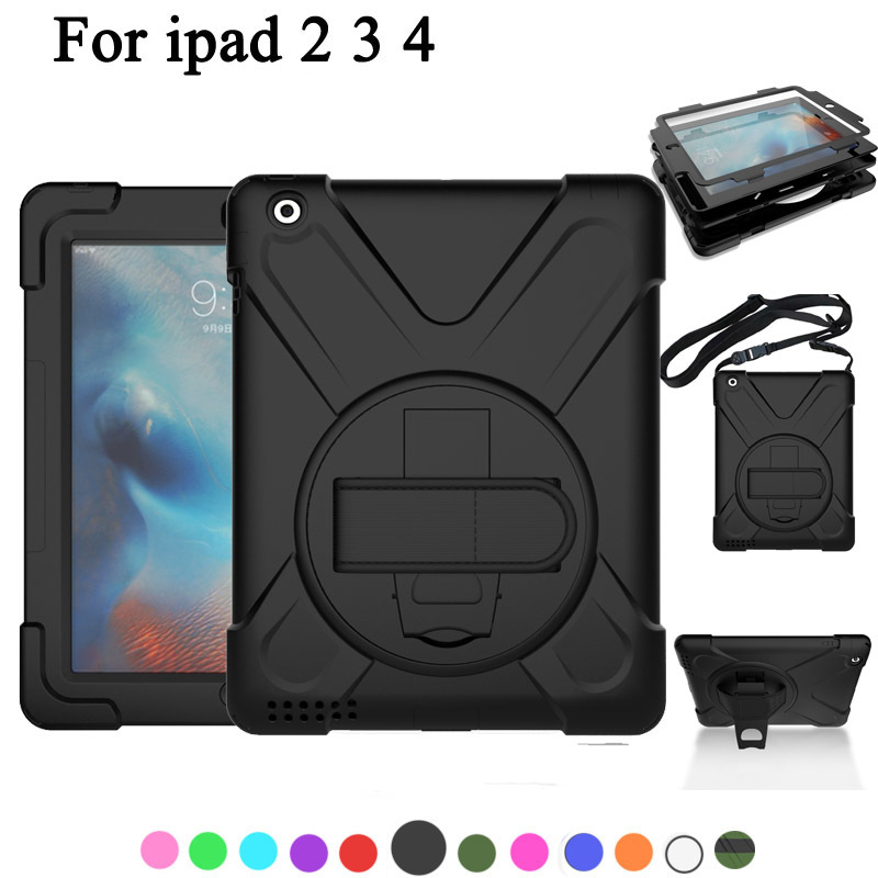 New Case For Apple Ipad 2 3 4 Case Kids Safe Shockproof Heavy Duty Silicone+PC Kickstand Case w/ Wrist+Shoulder Strap For ipad 4