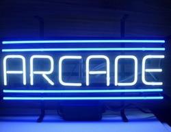 Пользовательский аркадный неоновый светильник из синего стекла, пивной бар