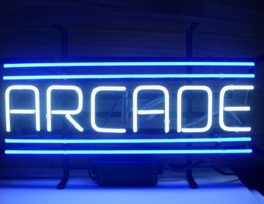 Custom Arcade Blue Glass Neon Light Sign Beer BarCustom Arcade Blue Glass Neon Light Sign Beer Bar