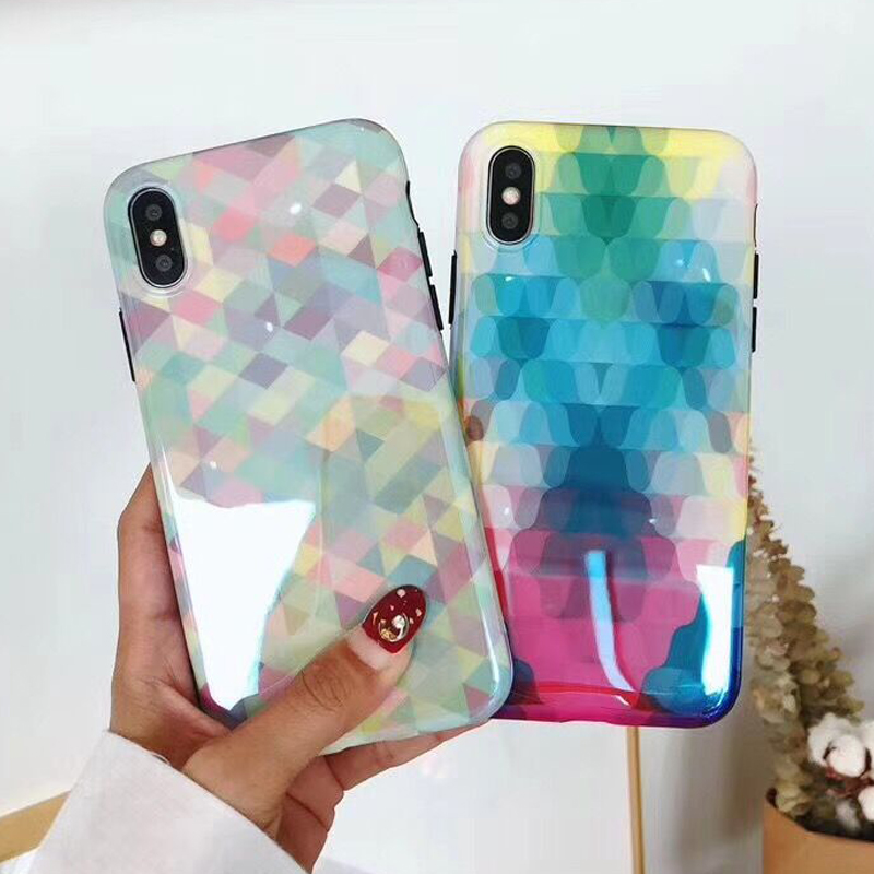 LOVECOM Blu Ray Phone Cases for iPhone X 6 6S 7 8 Plus Gradient Geometry Rainbow  Soft IMD Glossy Phone Back Cover Coque Shell-in Fitted Cases from ... e00063b37589
