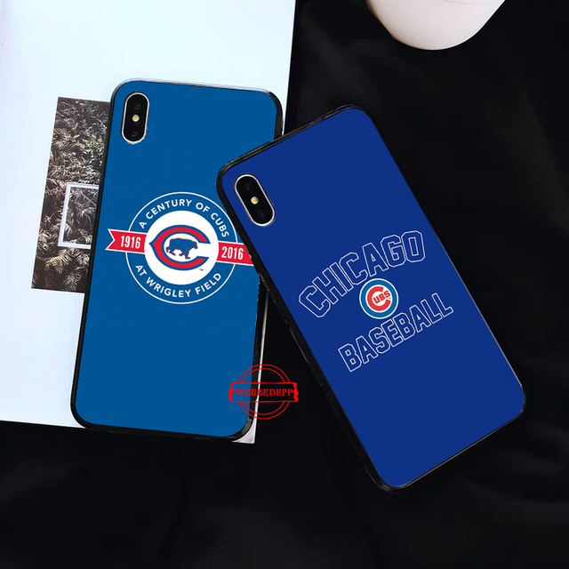 Chicago Cubs Baseball Silicone soft Case for iPhone 5 SE 5S 6 6S Plus 7 8 11 Pro X XS Max XR