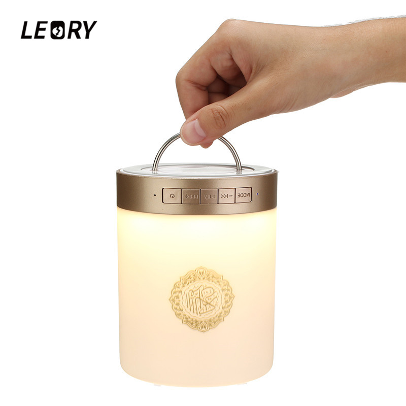 LEORY SQ112 Wireless Remote Control Quran Bluetooth Speaker Portable MP3 FM Radio Touch LED Speaker with 25 Languages US/UK digital quran lamp with azan clock colorful led light quran player fm radio quran free download english italian translator