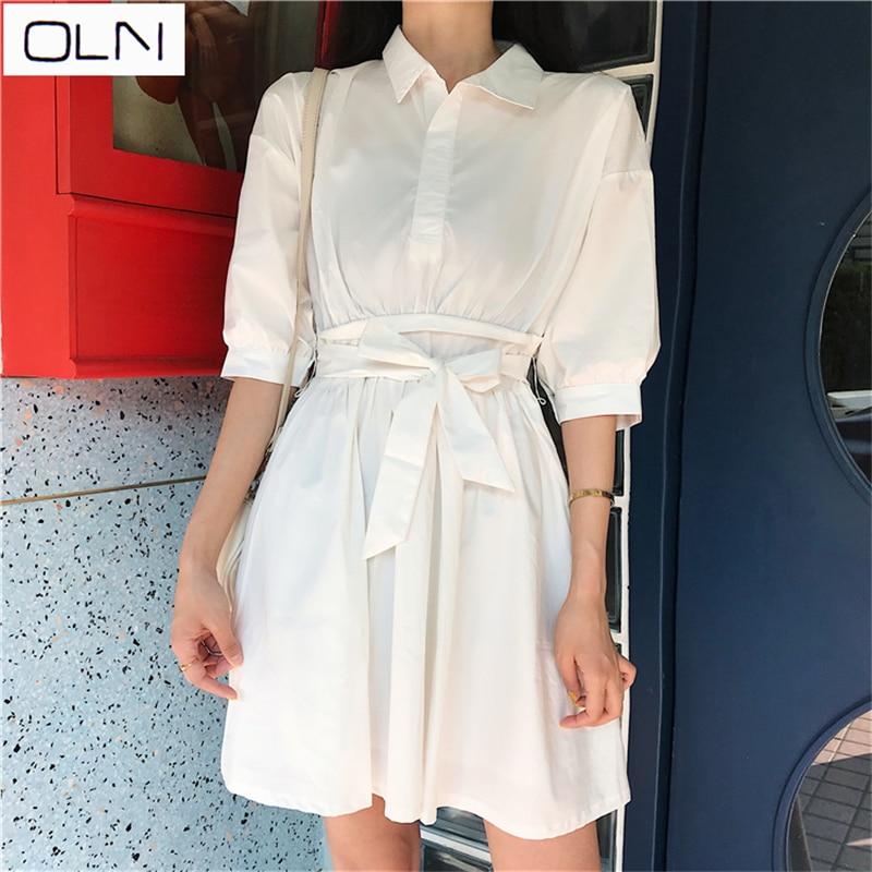 Dress OLN Vestidos Korean New product waist POLO half open sleeves super fairy  dress new arrival
