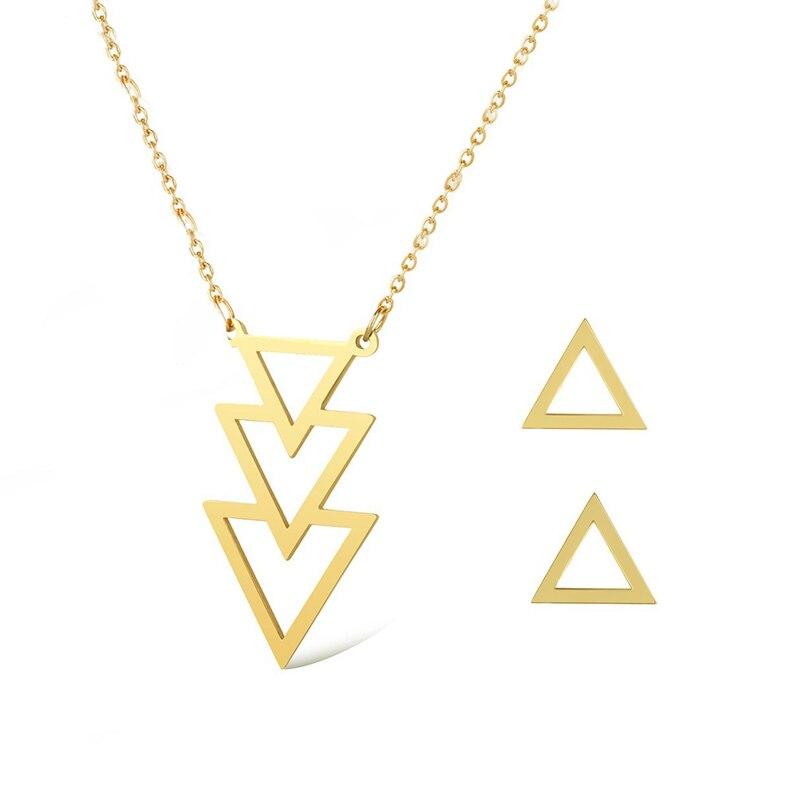 Triplo de Aço inoxidável Minimalista Colar De Jóias Camisola Geométrica Triângulo Stud Brincos Conjuntos de Jóias Para As Mulheres