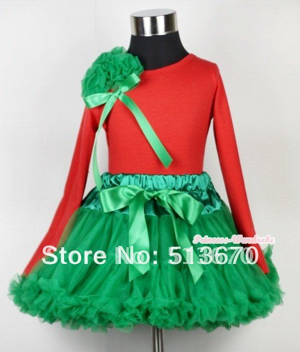 Christmas Kelly Green Pettiskirt with Matching Red Long Sleeves Top with Bunch Kelly Green Rosettes & Kelly Green Bow MAMB05 kiniki kelly tanga mens