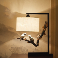Intimate Bird On A Branch Lamp Bedside Table Lamp Retro Country Bedroom Table Lamps For Living Room Novelty Desk Lamps