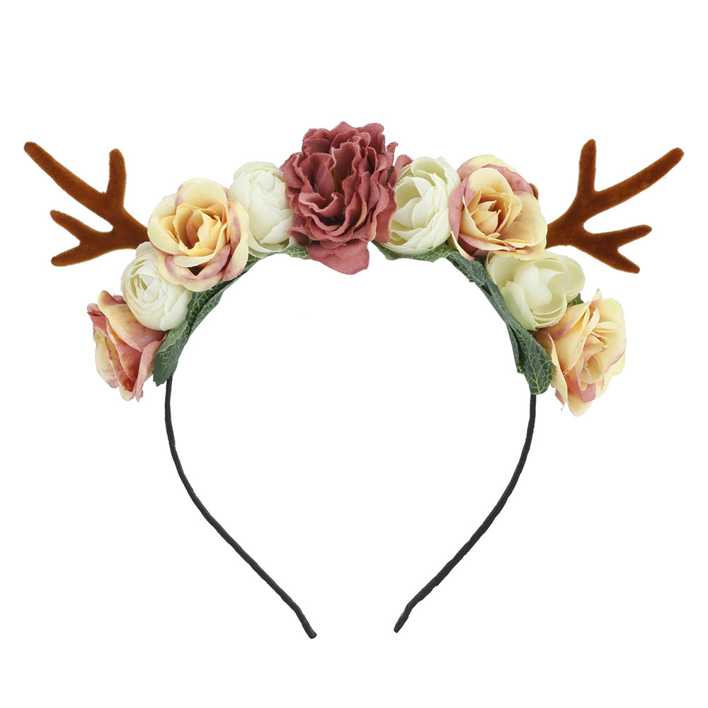 Kawaii Flowery Christmas Deer Headband