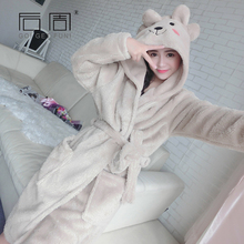 Robe Female 2018 Winter Warm Bathrobe Kigurumi Cute Soft Sleepwear Terry Home Clothing Women Pyjamas