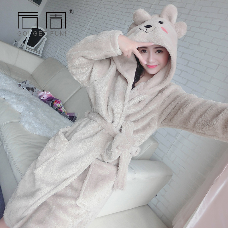 Robe Female 2018 Winter Warm Bathrobe Kigurumi Cute Soft Sleepwear Cotton Terry Robe Home Clothing Women Pyjamas High Quality ...