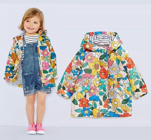 Красивая малышей, для маленьких девочек/Для девочек куртка с цветочным принтом, весенняя куртка для детей от 9 месяцев до 4 лет, водонепроницаемый и ветрозащитный плащ