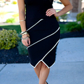 Sexy Women Stretch Bodycon Patchwork Irregular Skirt OL Slim Hip Knee Length High Waist Career Pencil Skirt Plus Size 2 color