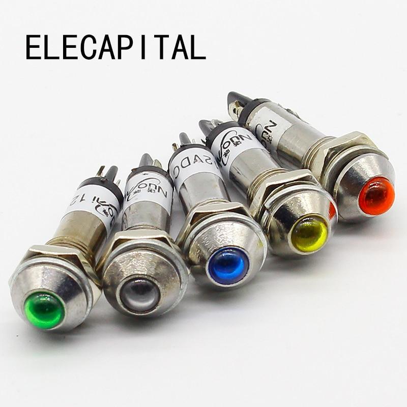 5PCS Signal Light 8mm Pilot Lamp Signal Light  12V 24V 220V LED Indicator Light